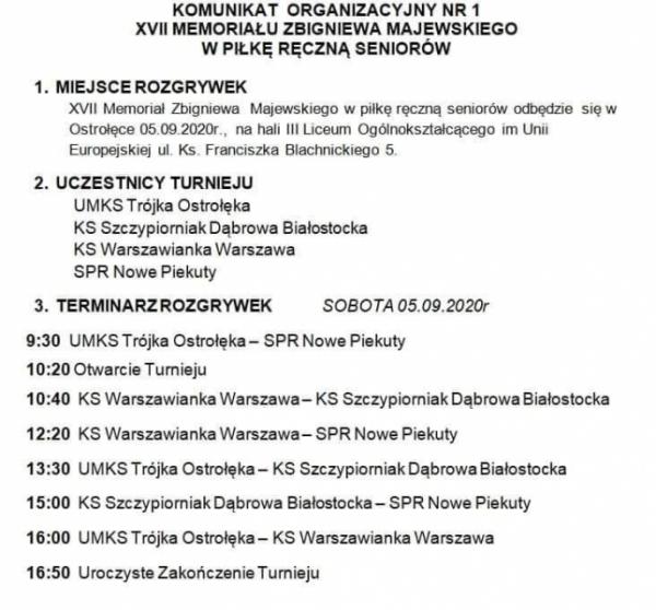 XVII Memoriał im. Zbigniewa Majewskiego w piłce ręcznej seniorów